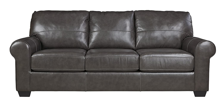 Amazon com ashley furniture signature design canterelli contemporary leather sofa gunmetal kitchen dining