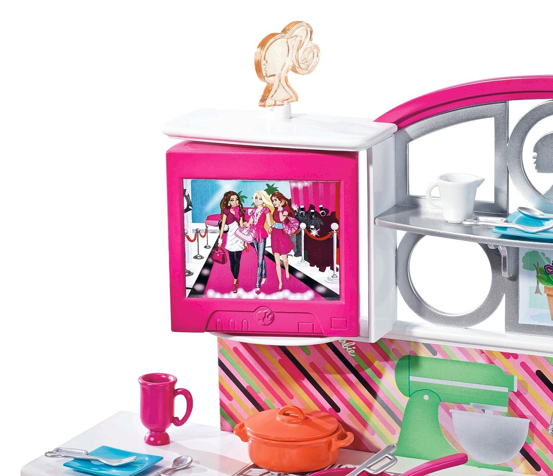 Mattel T8014 - Barbie Deluxe Möbel, Küche mit Einrichtung, Zubehör ...