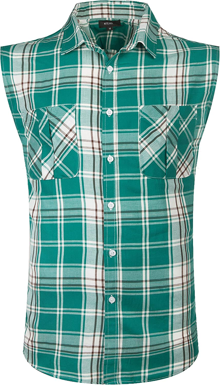 NUTEXROL Mens Casual Sleeveless Shirts Checked Cotton Plaid Vest
