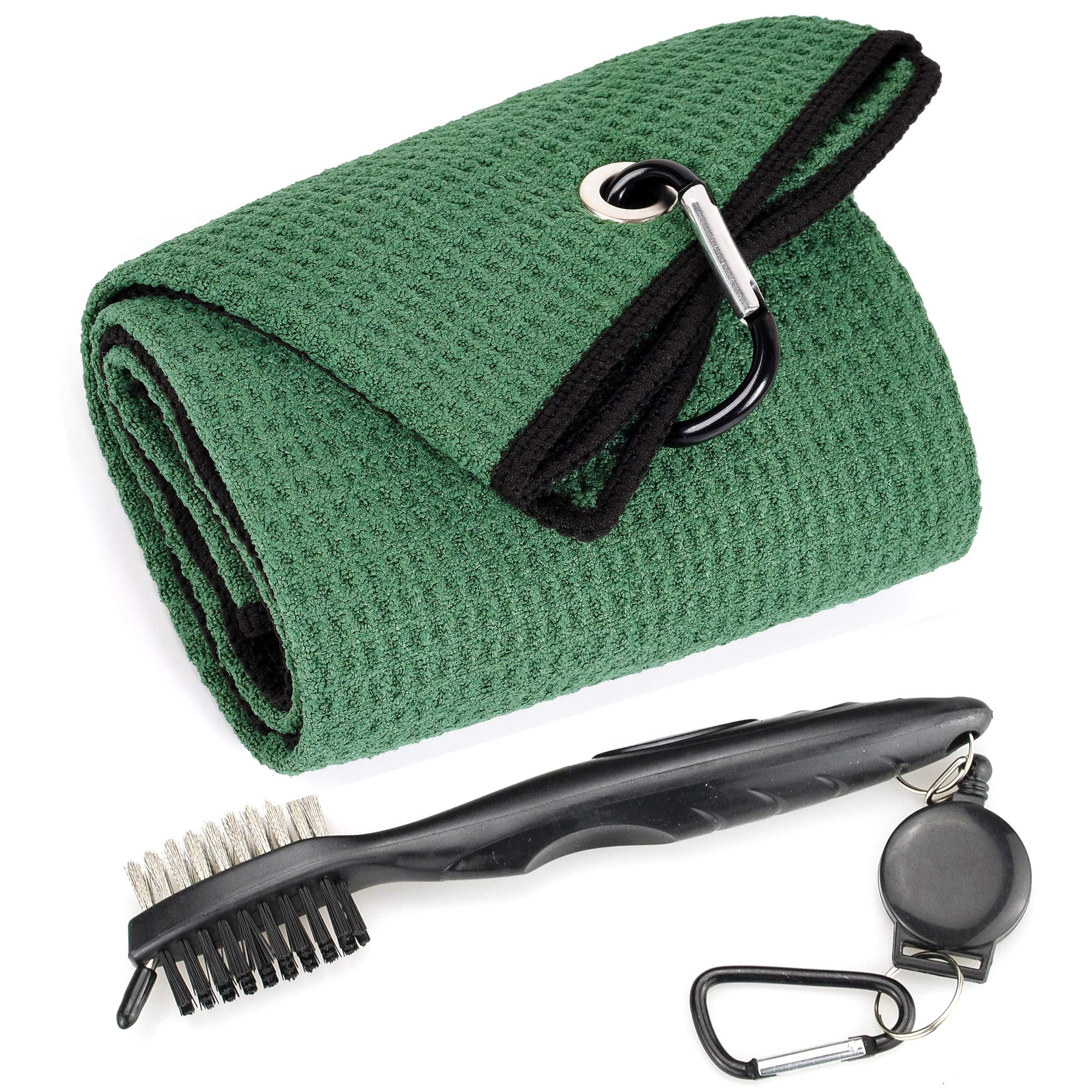 Mile High Life Microfiber Waffle Pattern Tri-fold Golf Towel | Brush Tool Kit with Club Groove Cleaner, Retractable Extension Cord and Clip (Green Towel+Black Brush) by Mile High Life