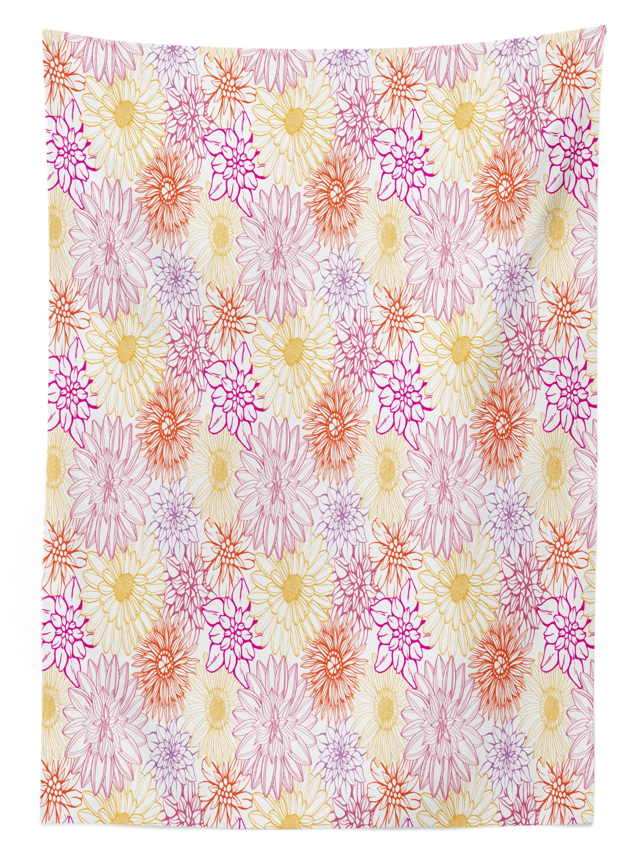 Ambesonne Floral Outdoor Tablecloth, Blossom Spa Gardening Theme Flower Petals Essence Bouquet Art, Decorative Washable Picnic Table Cloth, 58 X 120 inches, Pale Yellow Dark Coral Fuchsia by Ambesonne (Image #1)