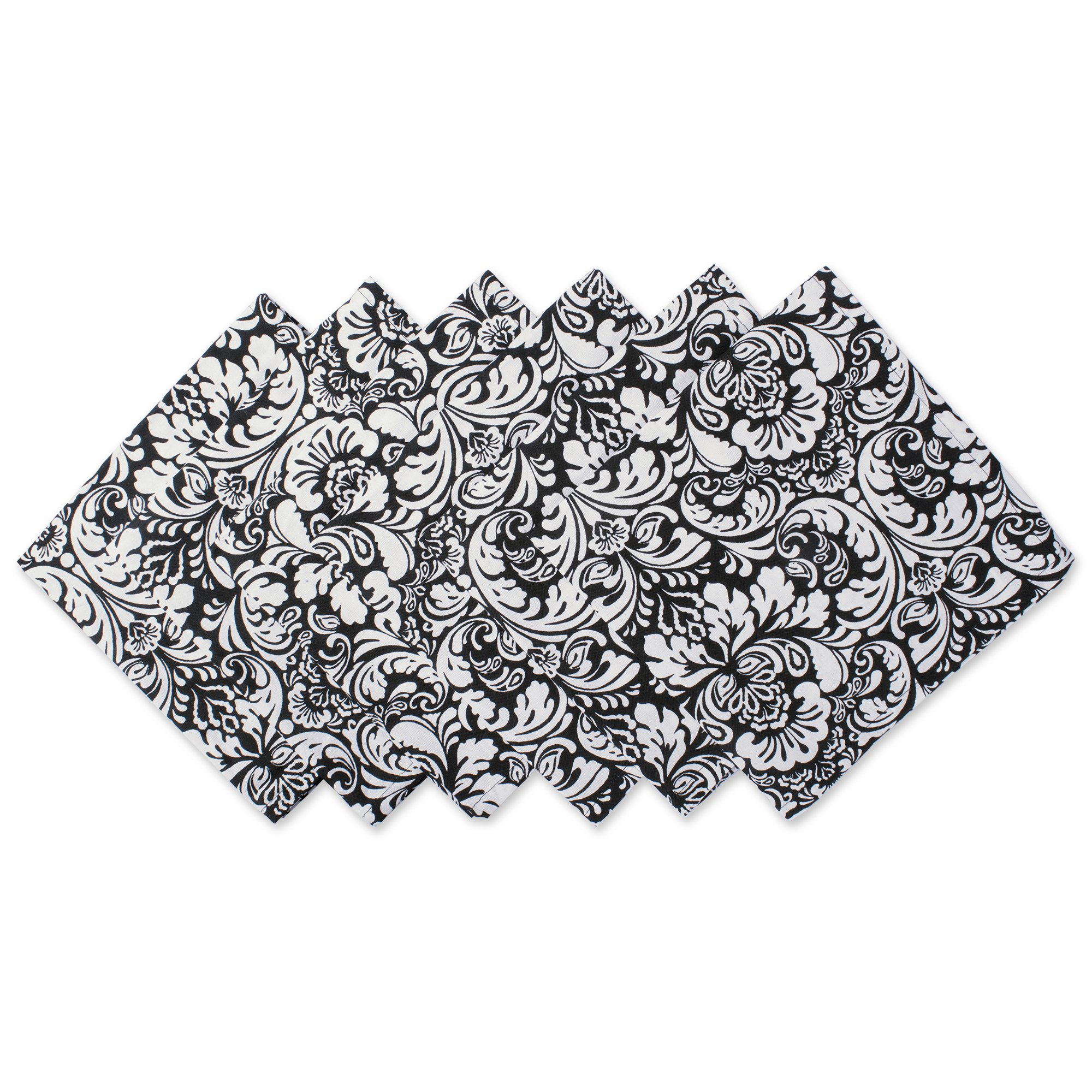 DII 100% Cotton, Oversized Basic 20x20'' Damask Napkin For Holidays, Buffets, Parties, Special Occasions, or Everyday Use - Set of 6, Black
