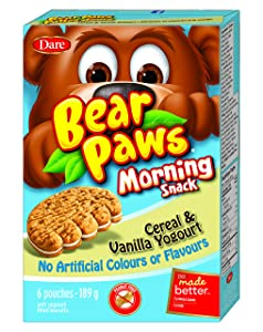 Dare Bear Paws Morning Snack, Cereal & Vanilla Yogurt 189g - Peanut Free {Imported from Canada}