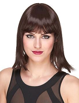 Peluca negra corta flequillo Deluxe mujer - Única