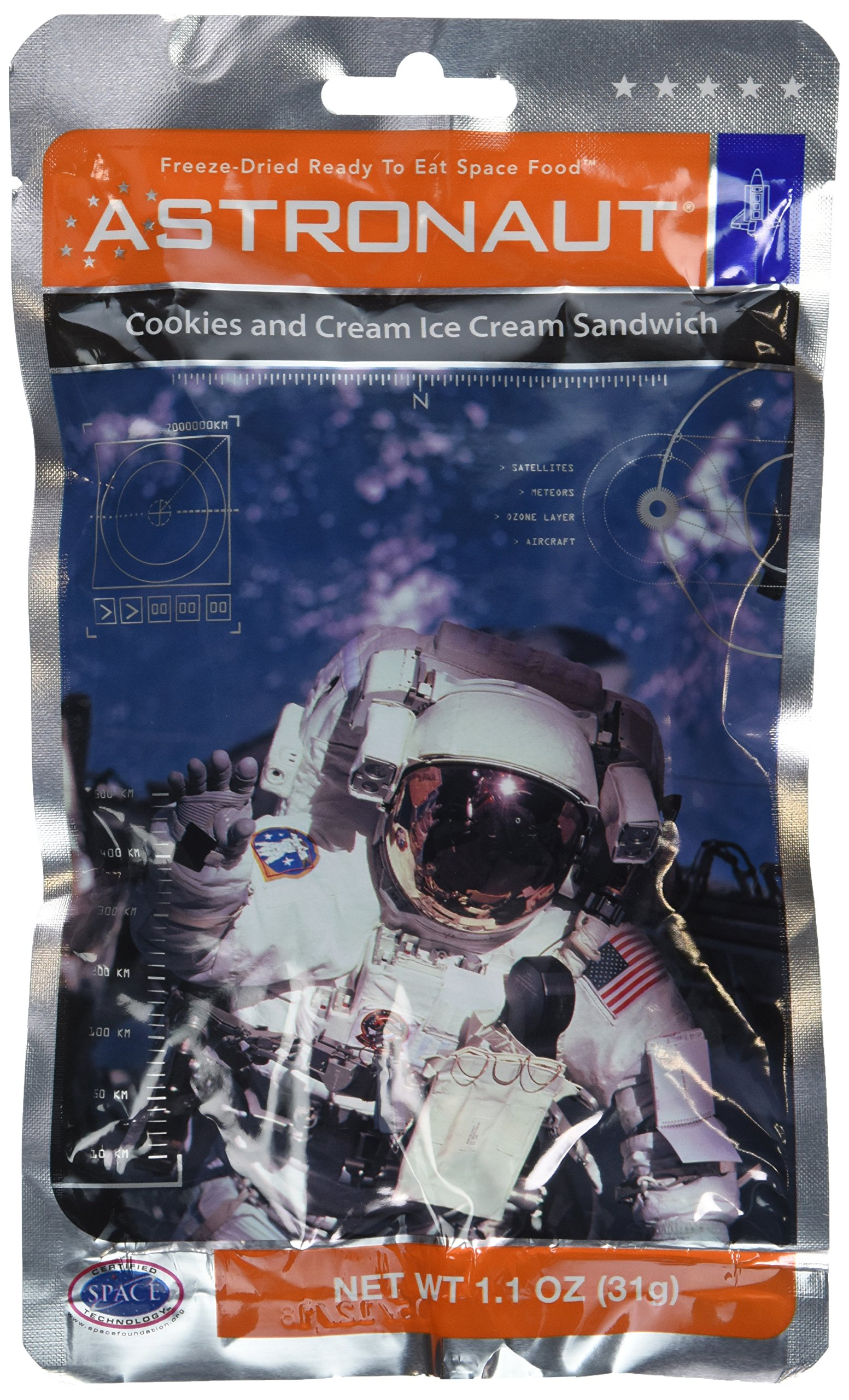 Astronaut Freeze-Dried Ready To Eat Space Food Ice Cream, Cookies And Cream Ice Cream Sandwich Flavor - Pack of 3 (1.1 Oz. Ea.) by Astronaut Foods