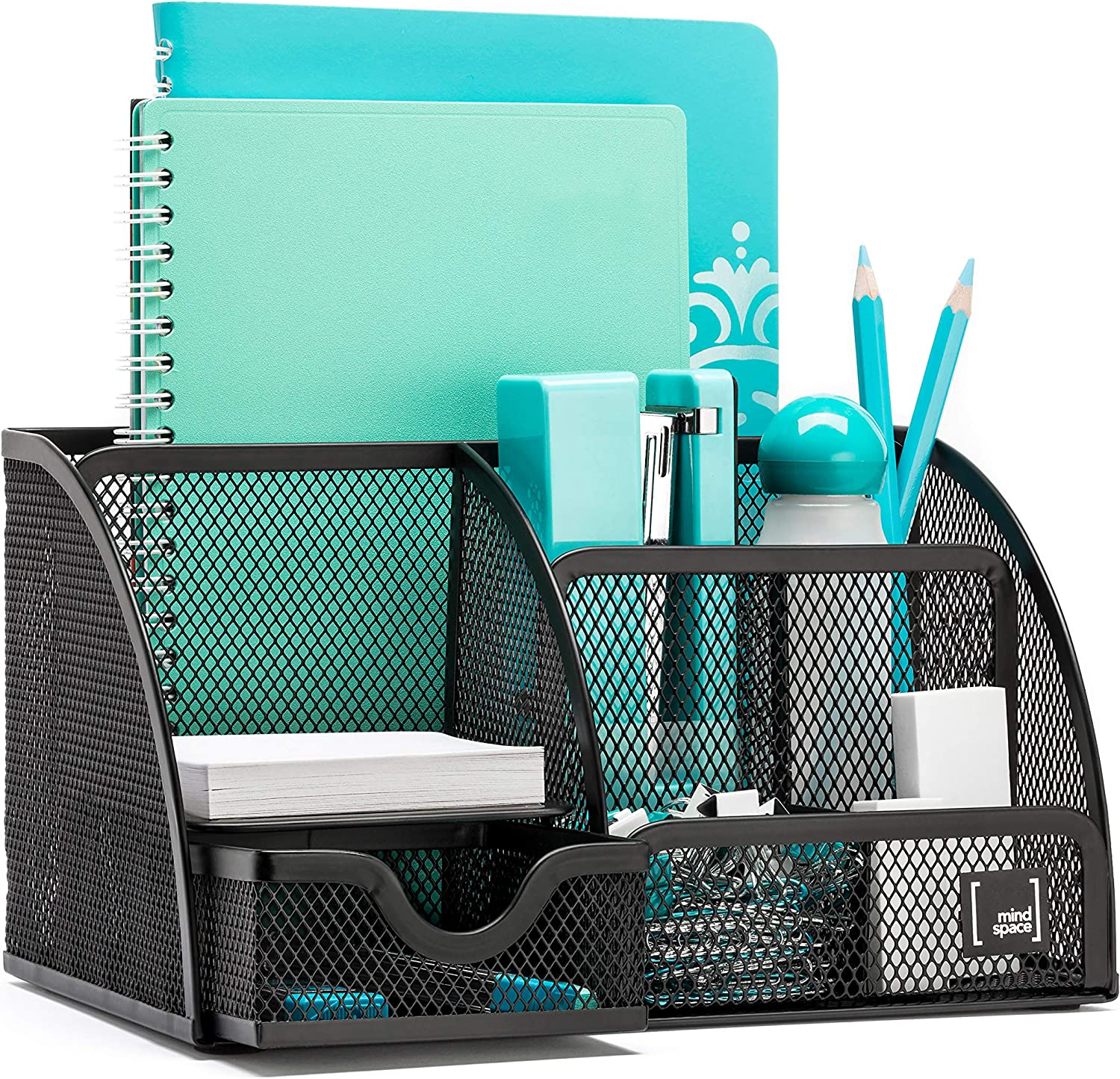 Mindspace Office Desk Organizer with 33 Compartments + Drawer  The Mesh  Collection, Black