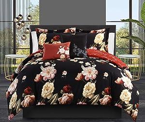 Chic Home Enid 5 Piece Reversible Comforter Set Floral Print Cursive Script Design Bedding - Decorative Pillows Shams Included, Queen, Black