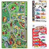 Kid Toys Rug with Roads and Train Tracks,Cool and Fun Area Rug Gift Set with 18 Cars,Kid Rug for Boys and Girls Play and…