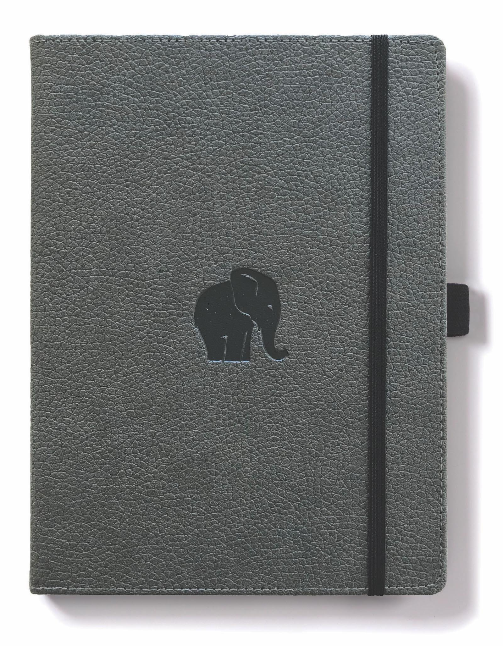 Dingbats Wildlife Dotted Hardcover Notebook - PU Leather, Perforated 100gsm Ink-Proof Paper, Pocket, Elastic Closure, Pen Holder, Bookmark (Grey Elephant, XL A4+ (8.5 x 11.8)) by Dingbats* Notebooks