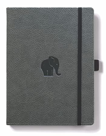 Dingbats D5023GY Wildlife Medium A5+ Hardcover Notebook - PU Leather, Micro-Perforated 100gsm Cream Pages, Inner Pocket, Elastic Closure, Pen Holder, Bookmark (Dotted, Grey Elephant)