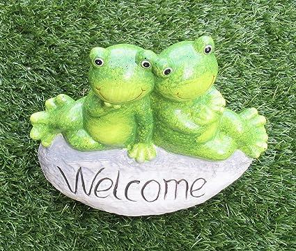 Figura de rana, decoración, decoración de jardín, Welcome, altura aprox. 22 cm.: Amazon.es: Jardín