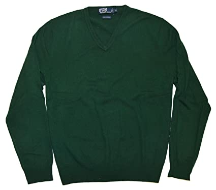 Polo Ralph Lauren Men 100% Cashmere V-Neck Knit Pullover Sweater Hunter  Green XL