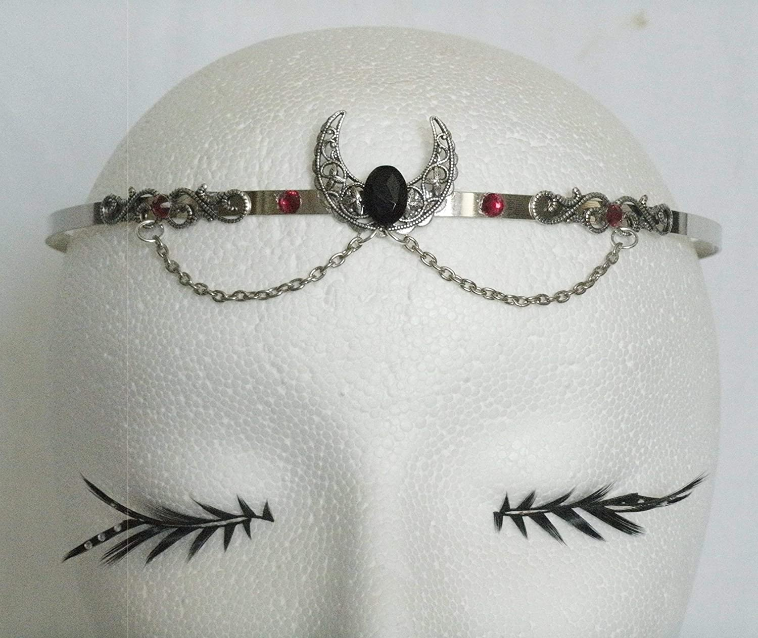 Onyx Crescent Moon Circlet handmade jewelry wiccan pagan wicca goddess witch witchcraft headpiece