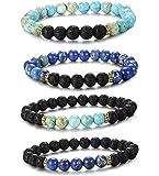 LOYALLOOK 2-4pcs Unisex Lava Stone Elastic Beaded Bracelet Healing Energy Stretch Eessential Oil Diffuser Bracelets 6-8MM
