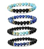 Amazon Price History for:LOYALLOOK 2-4pcs Unisex Lava Stone Elastic Beaded Bracelet Healing Energy Stretch Eessential Oil Diffuser Bracelets 6-8MM