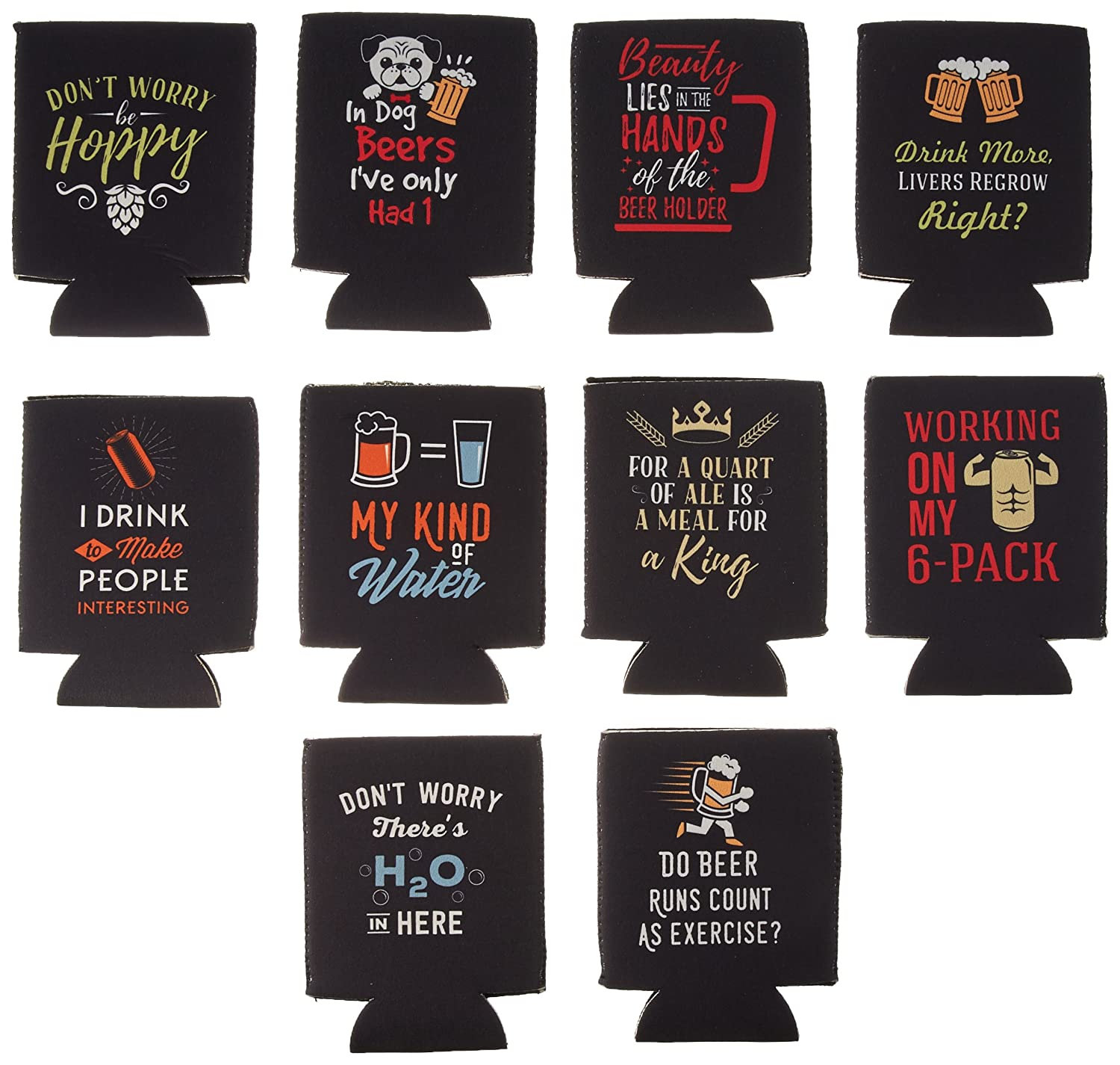 Avery Barn 10 Pack Funny Quotes Neoprene Insulated Beer Can Sleeve Covers Bundle Monster