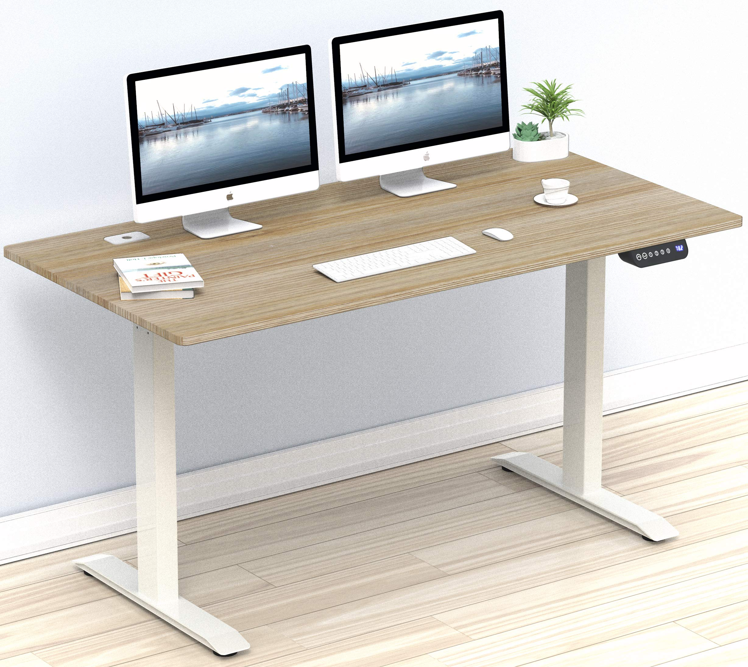 SHW 55-Inch Large Electric Height Adjustable Computer Desk, 55 x 28 Inches, Oak by SHW