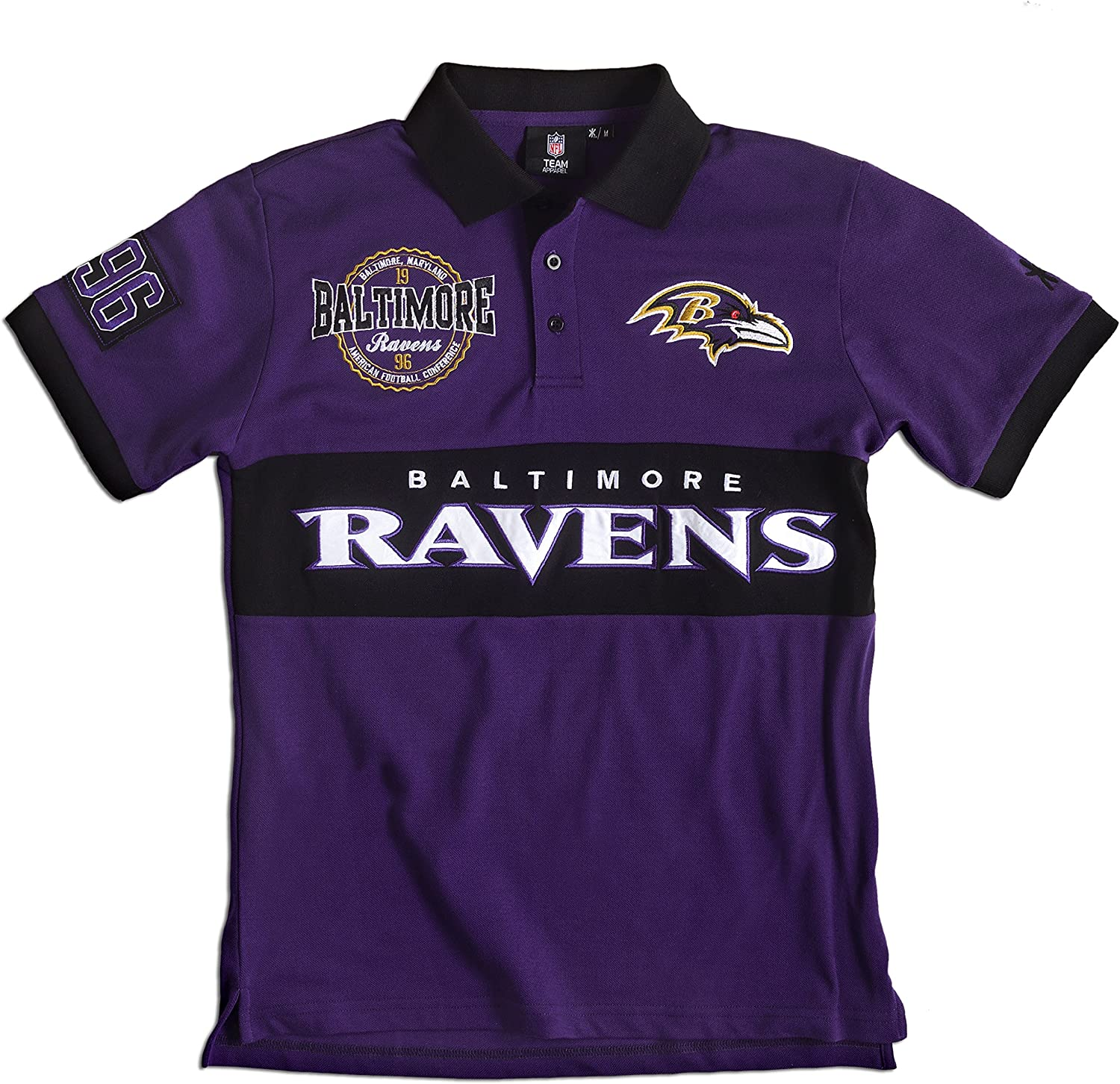 Baltimore Ravens Cotton//Poly Wordmark Rugby Short Sleeve Polo Shirt Extra Large
