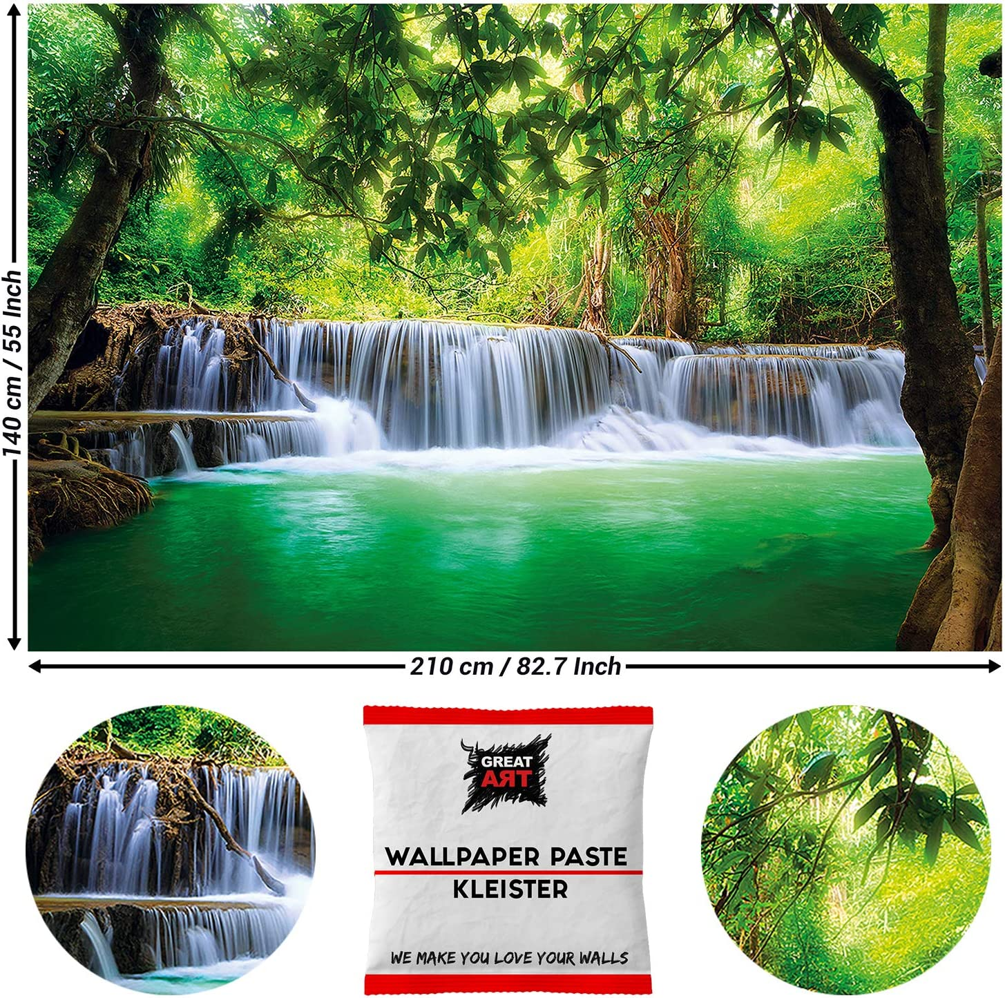 Great Art Photo Wallpaper Tropical Waterfall Decoration 210x140 cm / 82.7x55in – Rain-Forest Jungle River Nature Landscape Thailand Mural – 5 Pieces Includes Paste