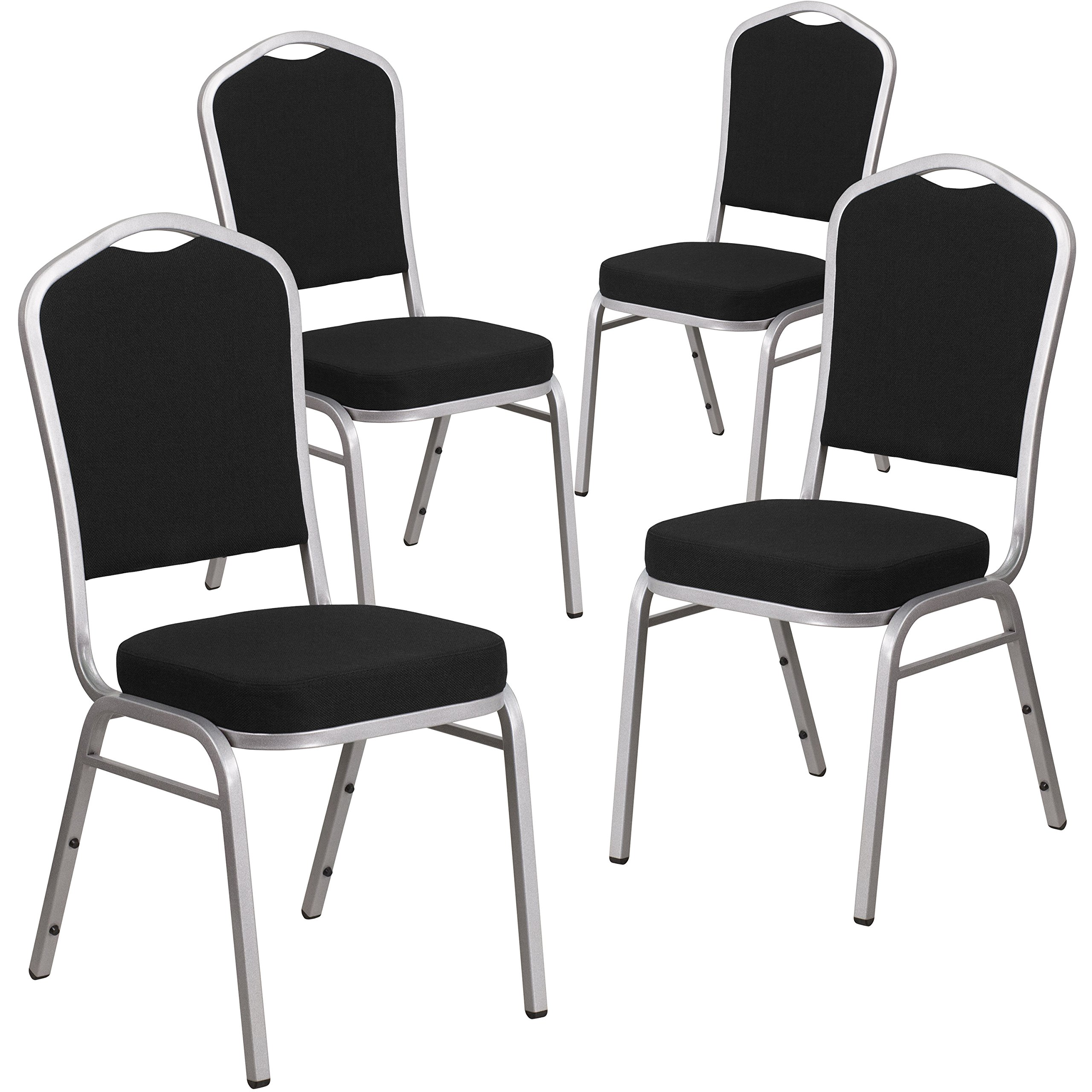 Flash Furniture 4 Pk. HERCULES Series Crown Back Stacking Banquet Chair in Black Fabric - Silver Frame