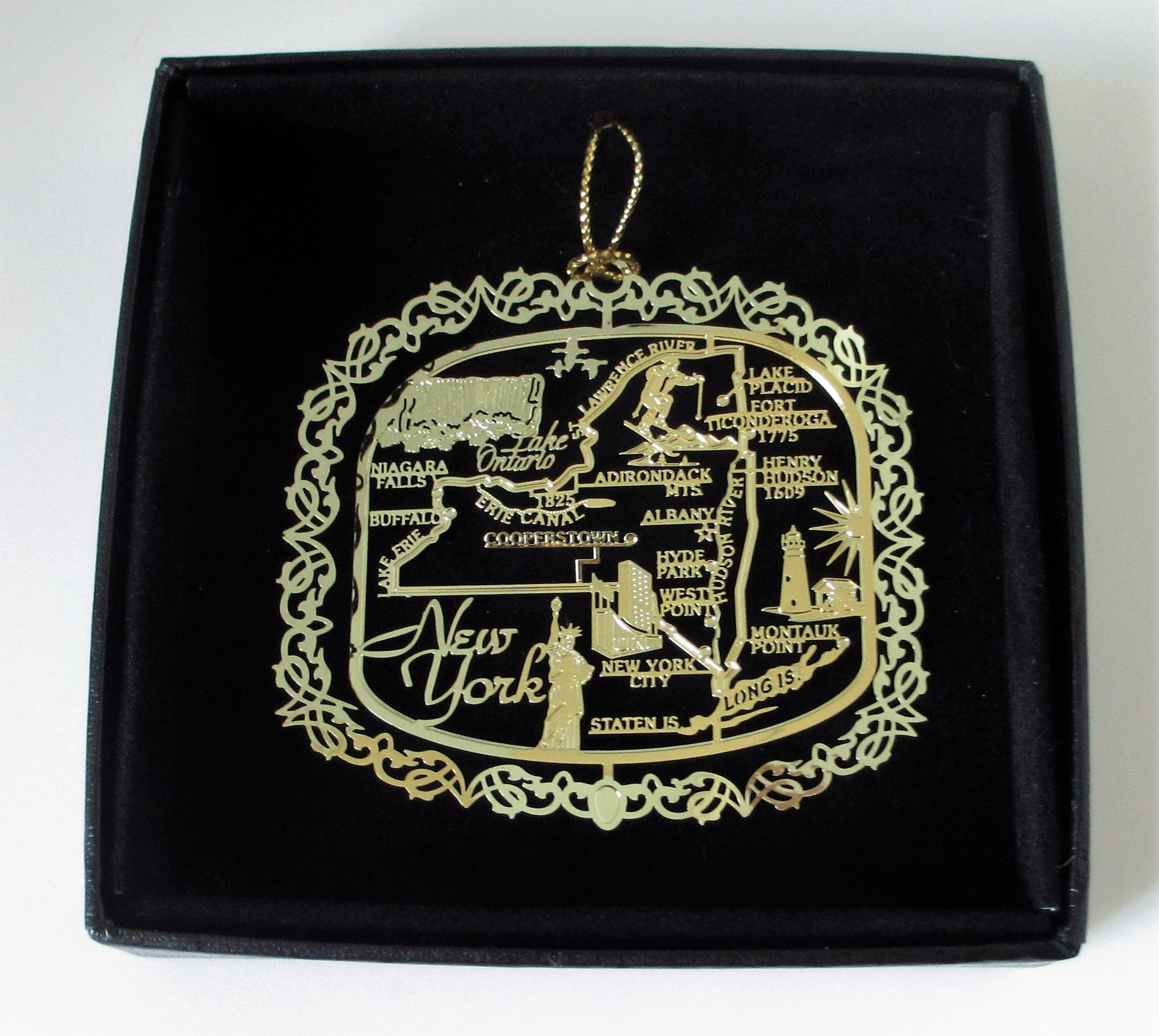New York State Brass Christmas Ornament Black Leatherette Gift Box