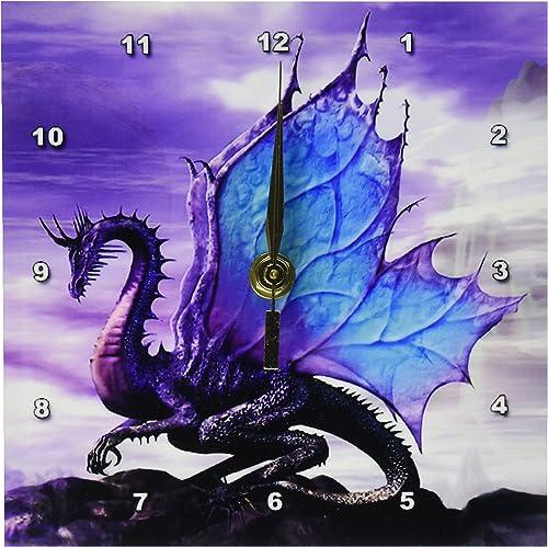 3dRose Fairytale Dragon Desk Clock, 6 by 6-Inch