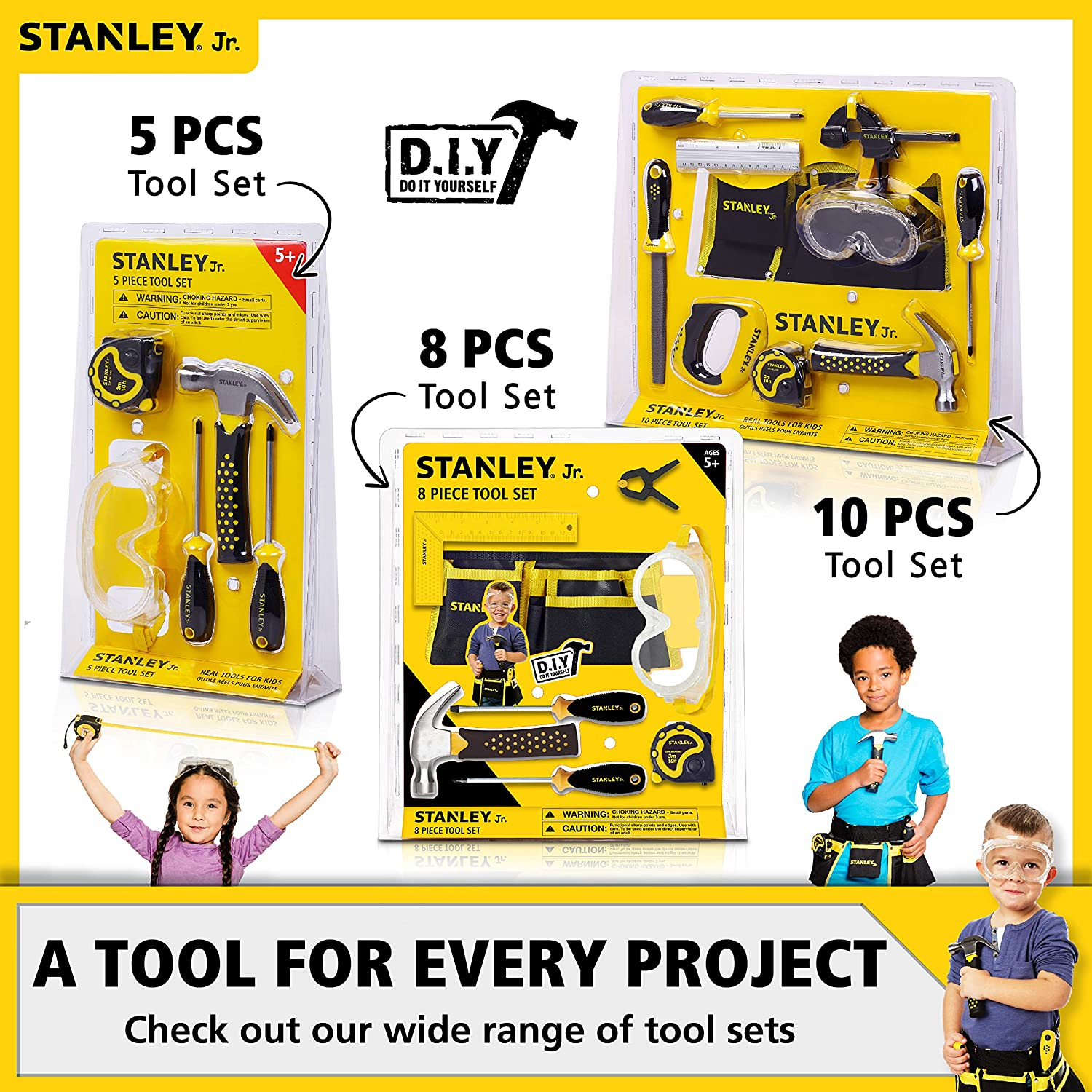 Wood Bulldozer Truck Toy Craft Easy to Assemble Model Truck Kit Bulldozer Model Kit Paint /& Brushes Included Stanley Jr DIY Bulldozer for Kids