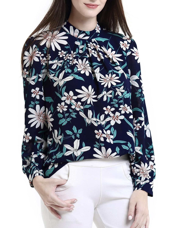 b081f5adfe8 Abollria Women s Flower Print Long Sleeve Stand Collar Casual Chiffon Blouse  Shirt Tops at Amazon Women s Clothing store