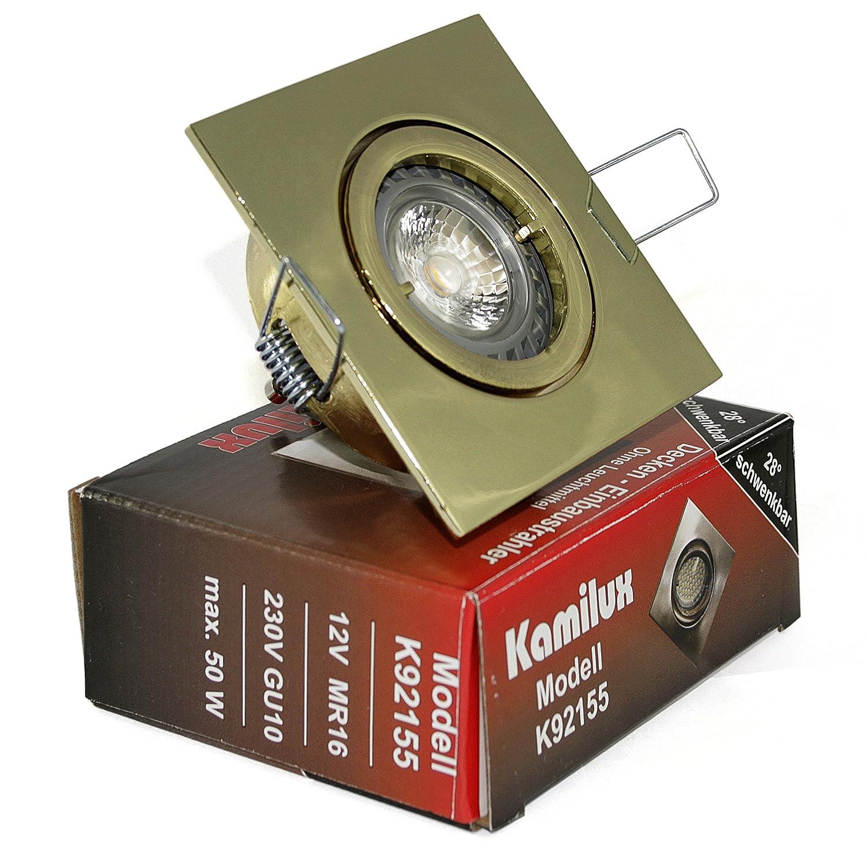 3x Einbaustrahler Max-Square GU10 Farbe Gold 230V IP20 Dimmbare Power LED 5W = 50W Warmweiß