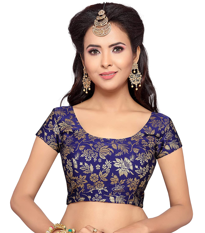 1c3b45bea45775 studio shringaar women s benaras brocade readymade saree blouse with round  neck and short sleeves