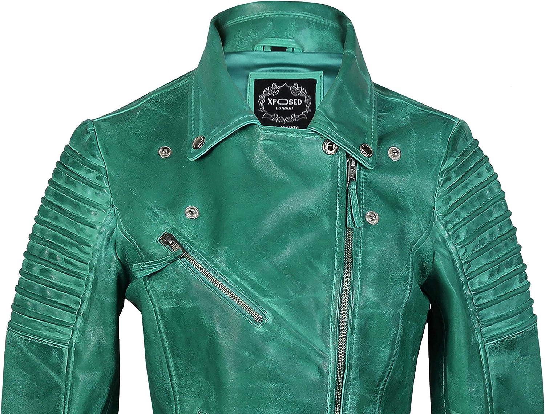 Xposed Veste De Motard Vintage En Cuir Véritable Pour Femme Taille 34 À 52 C-vert