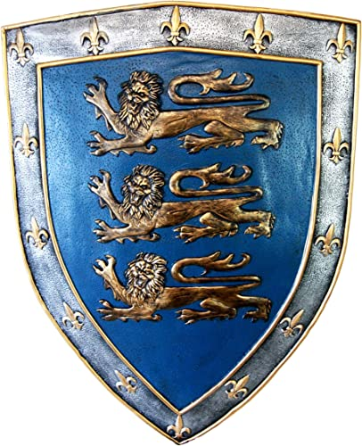 Ebros Gift Large Medieval Knight Royal Arms of England Three Lions Shield Wall Plaque 18 Tall King s Crest Heraldry Renaissance Warrior Knights Decorative Hanging Sculpture