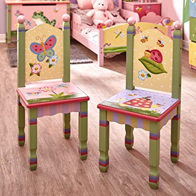 Fantasy Fields - Magic Garden Thematic Kids Wooden 2 Chairs Set , Imagination Inspiring Hand Crafted & Hand Painted Details , Non-Toxic, Lead Free Water-based Paint: Kitchen & Dining