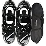 Flashtek Snowshoes for men and women, Light Weight Aluminum Terrain Snowshoes + Pair Anti-Shock Adjustable Snowshoeing Pole (optional) + Free Carrying Tote Bag