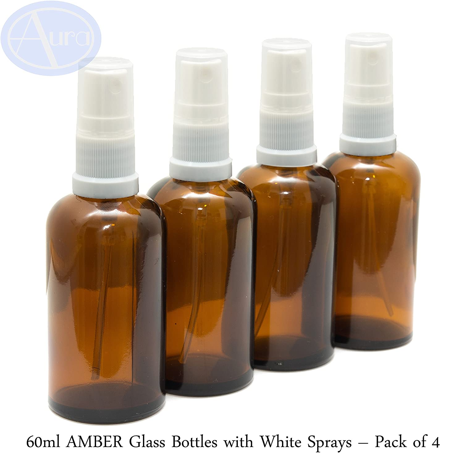 60ml AMBER Glass Bottles with White ATOMISER Sprays - PACK of 4 Aura Essential Oils