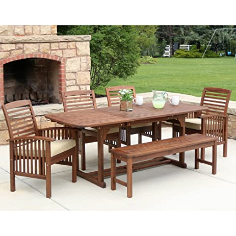 Attractive WE Furniture Solid Acacia Wood 6 Piece Patio Dining Set