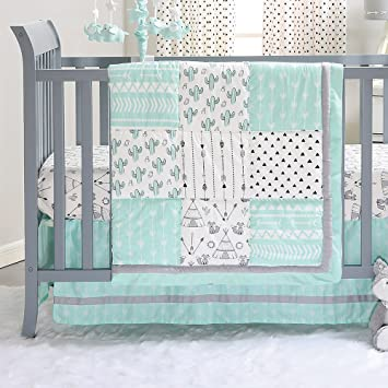 amazon com mint green southwest patchwork 3 piece crib bedding set