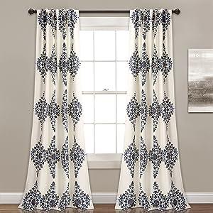 Lush Decor Lush Décor Keya Medallion Room Darkening Window Curtain Panel Pair, 84