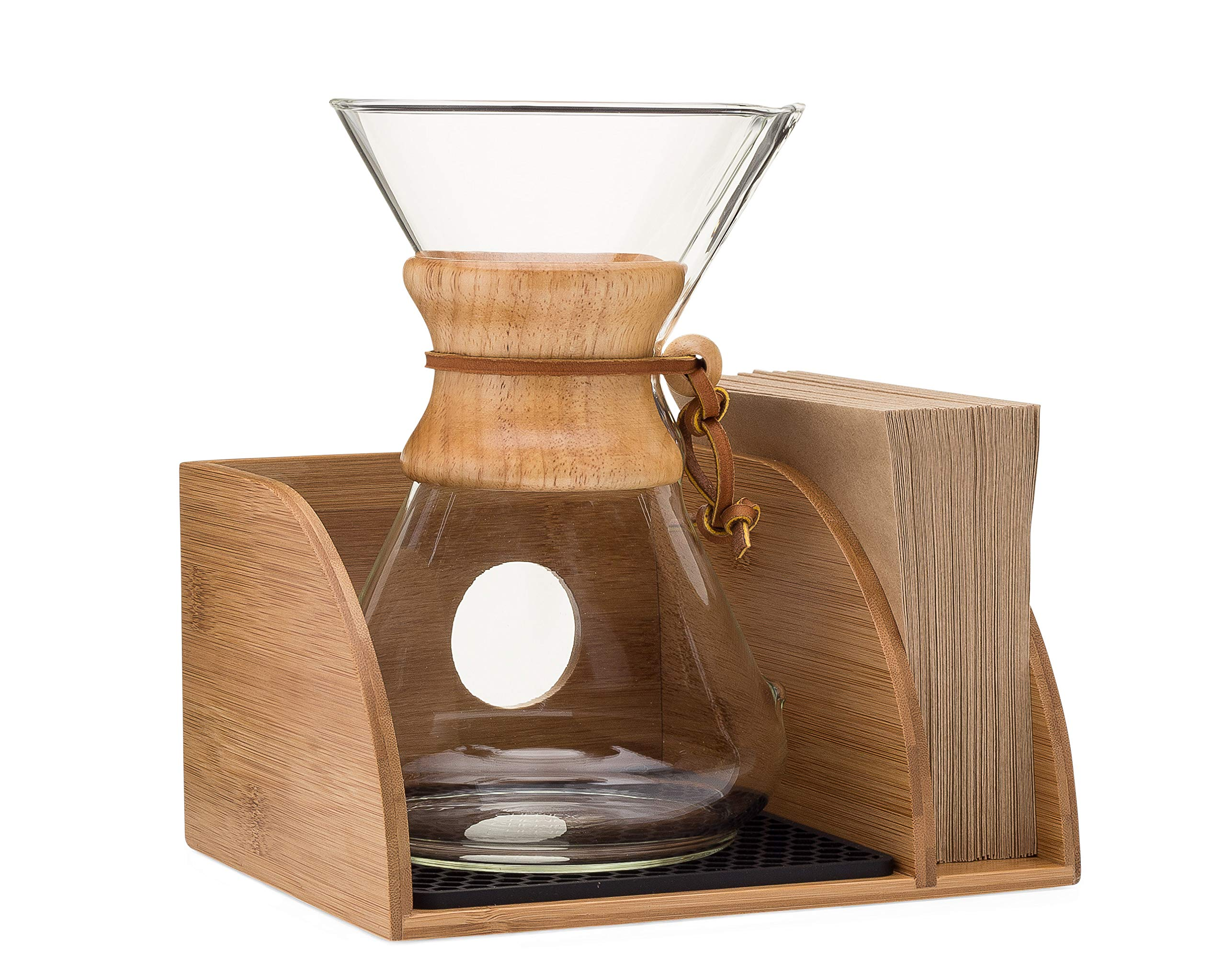 Chemex Coffee Maker Organizer with Silicone Mat | Eco-friendly, Durable & Water Resistant Bamboo | Designed for Baratza Encore Burr Grinders, Chemex Coffee Makers & Chemex Filters by Drip & Brew Coffee Company