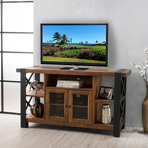 Christopher Knight Home 298935 Breeden Natural Wood TV Console with Cabinets, Brown