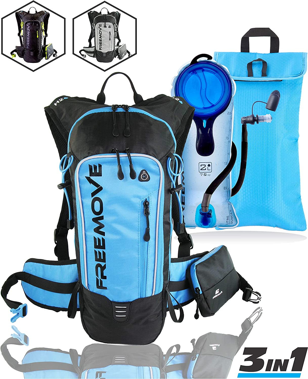 Amazon.com : FREEMOVE Hydration Pack Backpack with 2 Liter Water Bladder  and Cooler Bag, Lightweight, Fully Adjustable, Leakproof Multiple Pockets  Camel Pack Gear for Hiking, Running, Cycling, Skiing : Sports & Outdoors