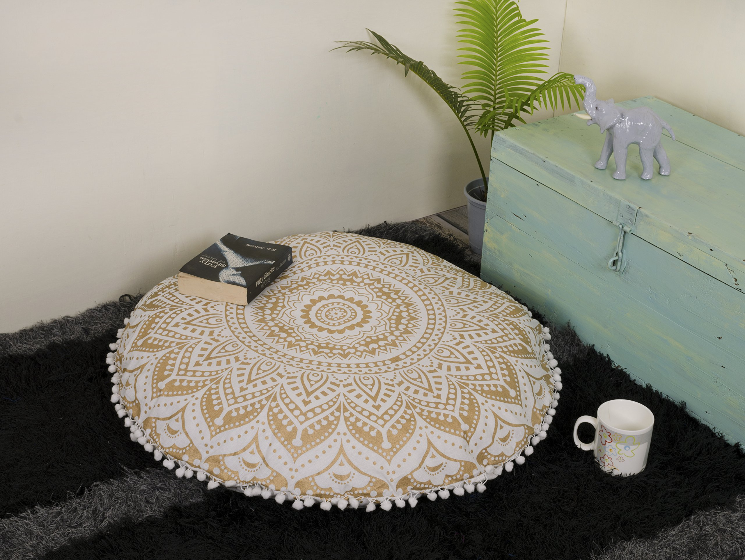 Popular Handicrafts Large Ombre Mandala Round Hippie Floor Pillow - Cushion - Pouf Cover Bohemian Yoga Decor Floor Cushion Case - 32'' Gold
