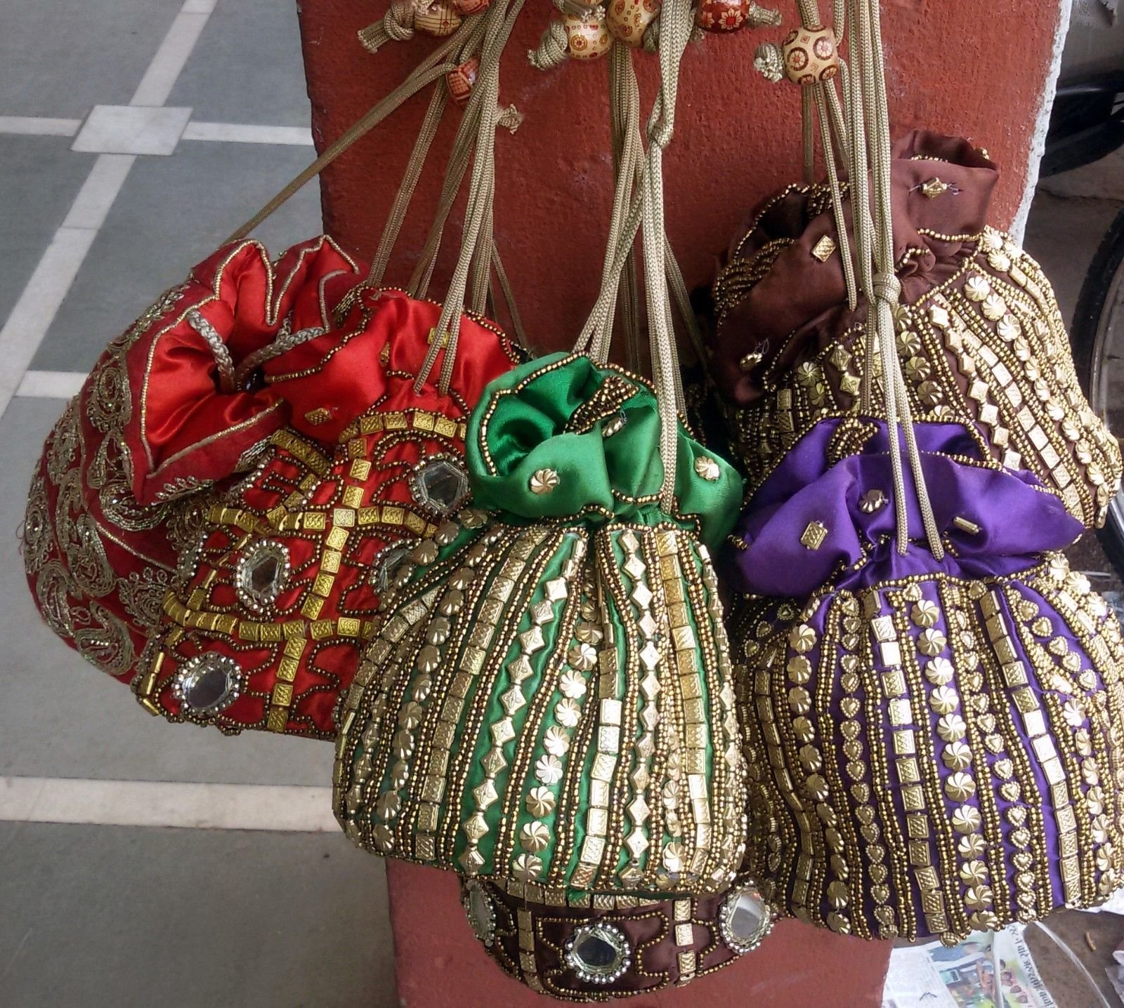 Dadu_creation 50 pc wholesale lot of Handmade party Potli Hand Bag Women Clutch Purse Designer