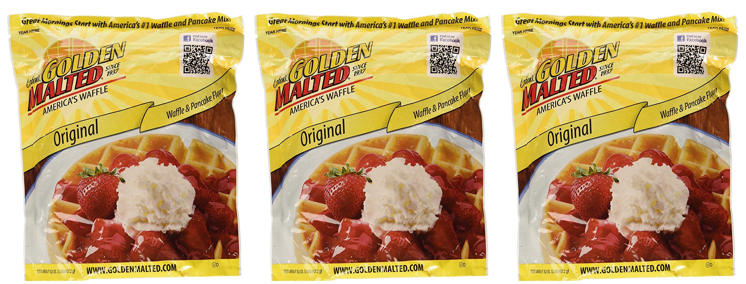 Carbon's Golden Malted Pancake & Waffle Flour Mix, Original, 32-Ounces (Pack of 3)