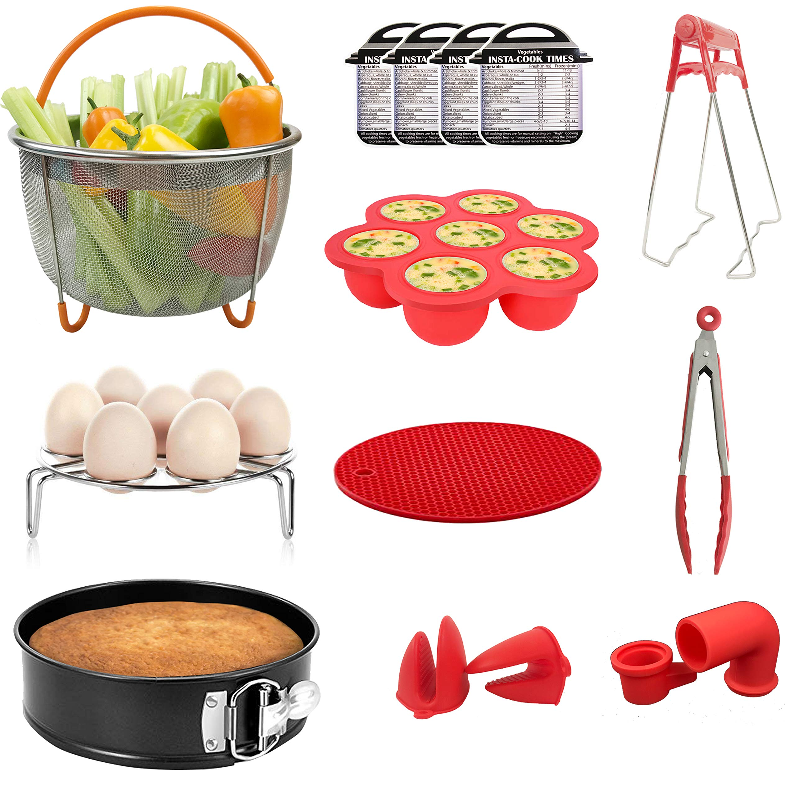 Maysa 14 Pcs Instant Pot Accessories Set | Steamer Basket | Spring Form Pan | Egg Bites Mold | Kitchen Tongs | Mitts | Silicone Mat | Magnet Cheat Sheet Compatible with 5,6,8 Qt Pressure Cookers
