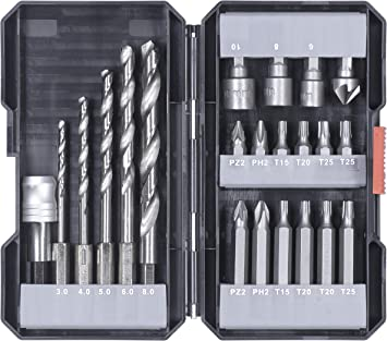 kwb 108805 - Juego de brocas y brocas (22 piezas, vástago hexagonal, 5 brocas de metal HSS y puntas PH, PZ y TX): Amazon.es: Bricolaje y herramientas
