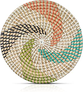 HNC ECOLIFE Woven Plate Wall Decor - Woven Charger Plates - Wicker Trivet - Wicker Plate Chargers - Natural Rattan Placemat - Boho Plate Wall Decor - Woven Plates For Wall - Wicker Wall Art - 30 Inch