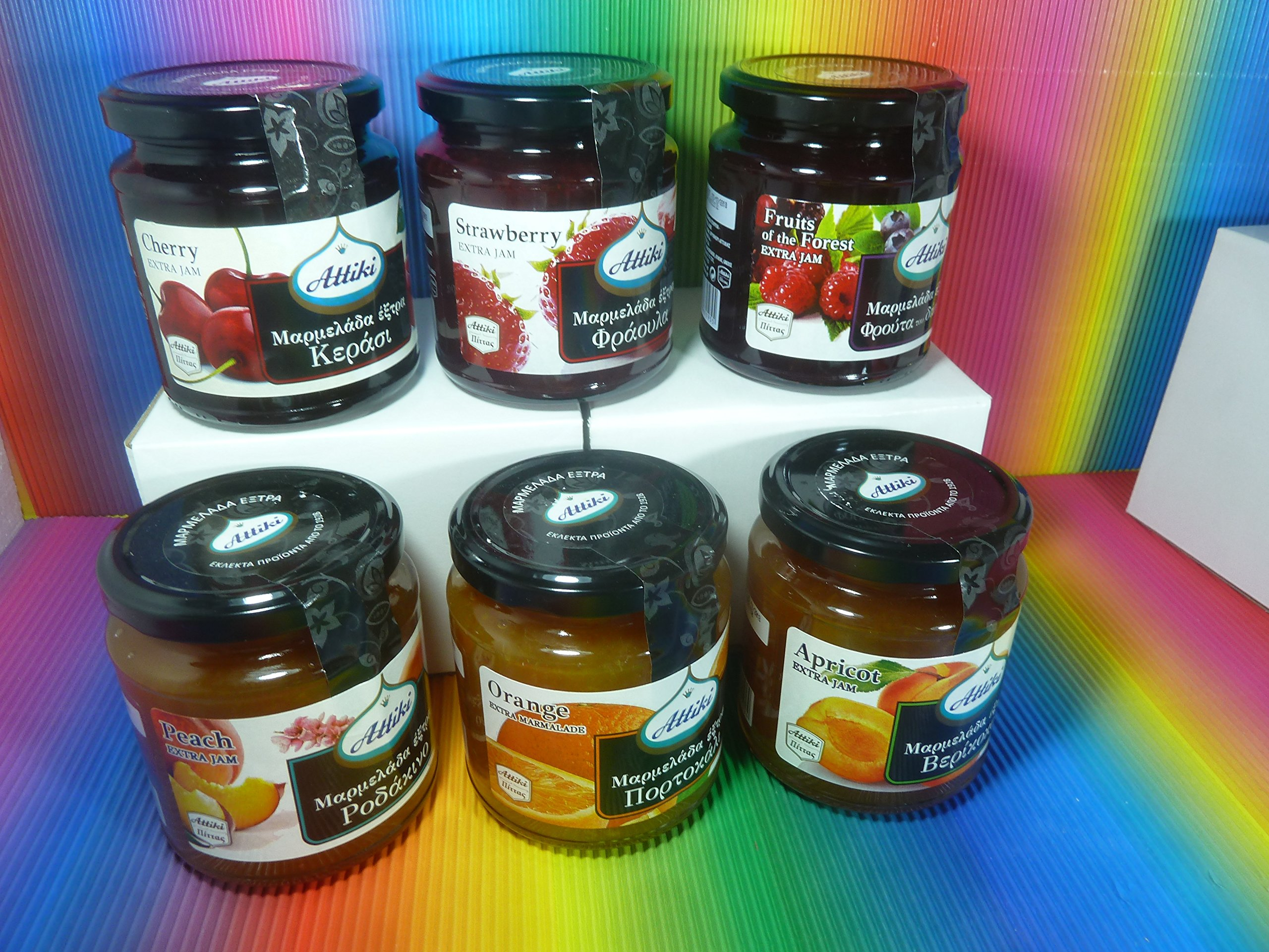 Attiki Jam marmalade variety Peach Orange Cherry Strawberry Forest fruits Apricot
