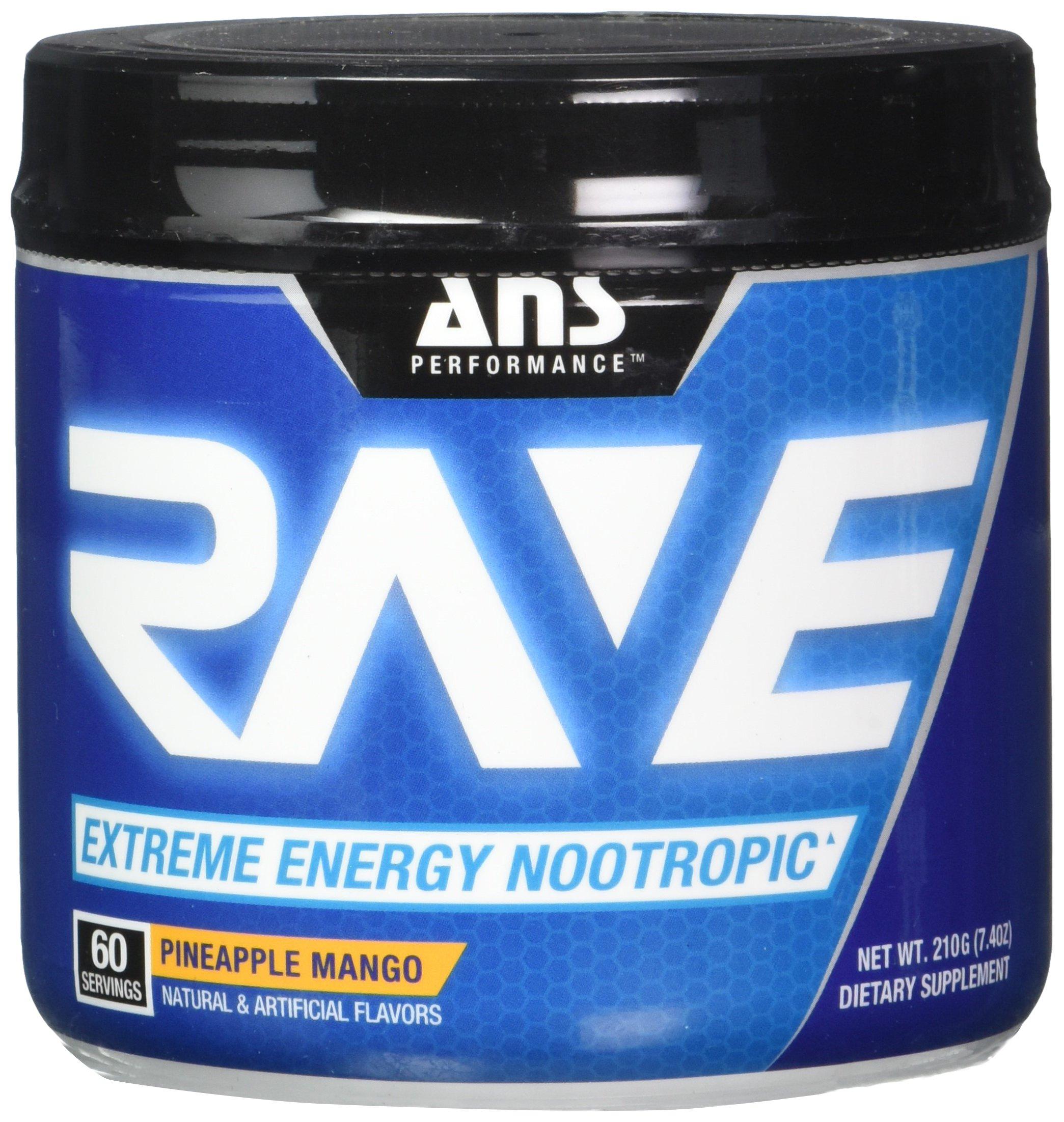 ANS Performance RAVE Extreme Energy Nootropic Pineapple Mango 60/SERV