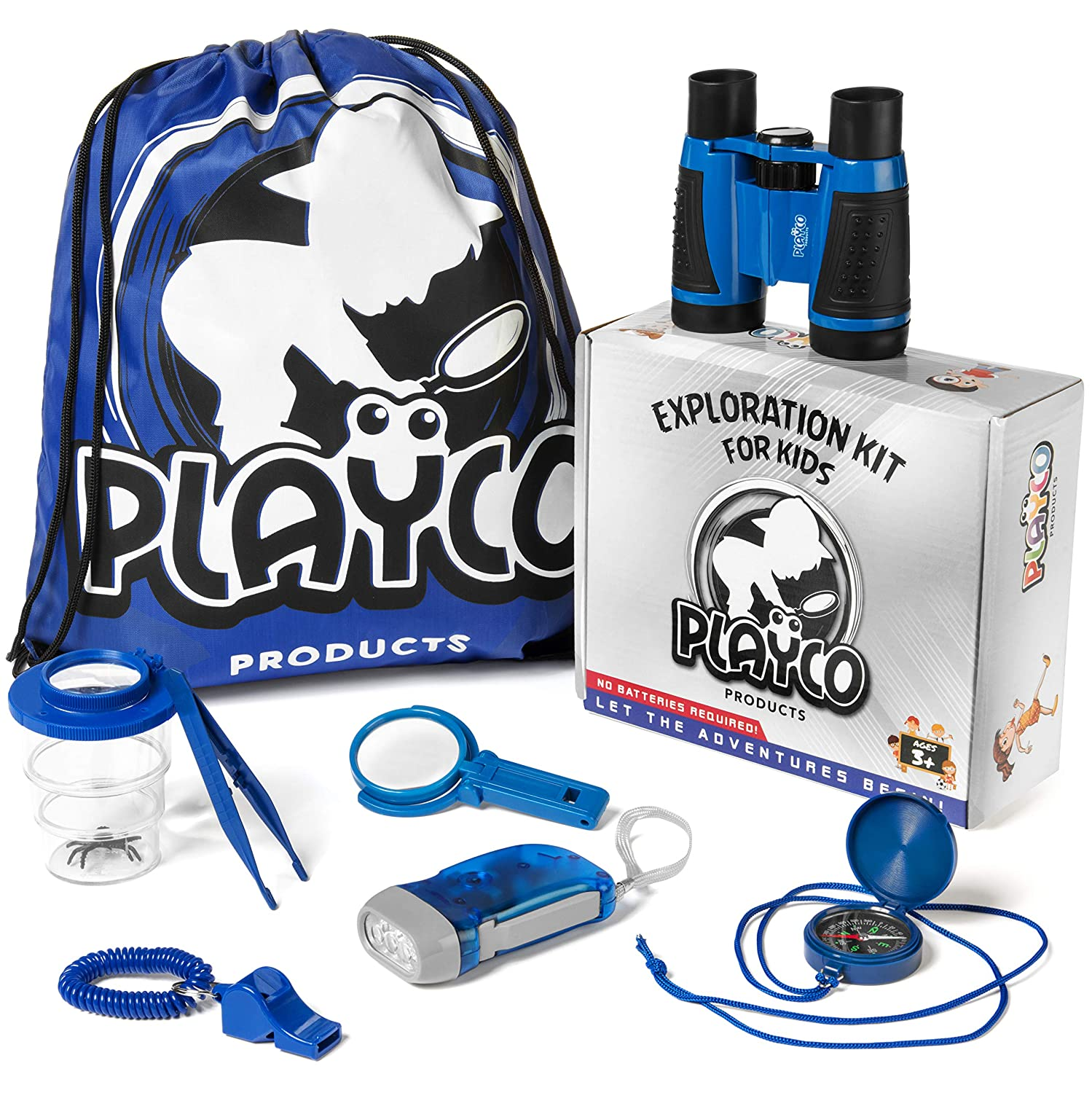 and Bug Catching Kit Playco Products Kids Explorer Kit Flashlight Magnifying Glass Whistle Compass Fun Toys for Your Childrens Next Camping Hiking or Outdoor Adventure Includes Binoculars